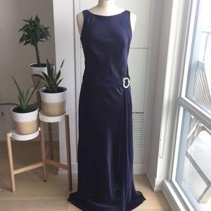Oblique Long Satin Navy Gown